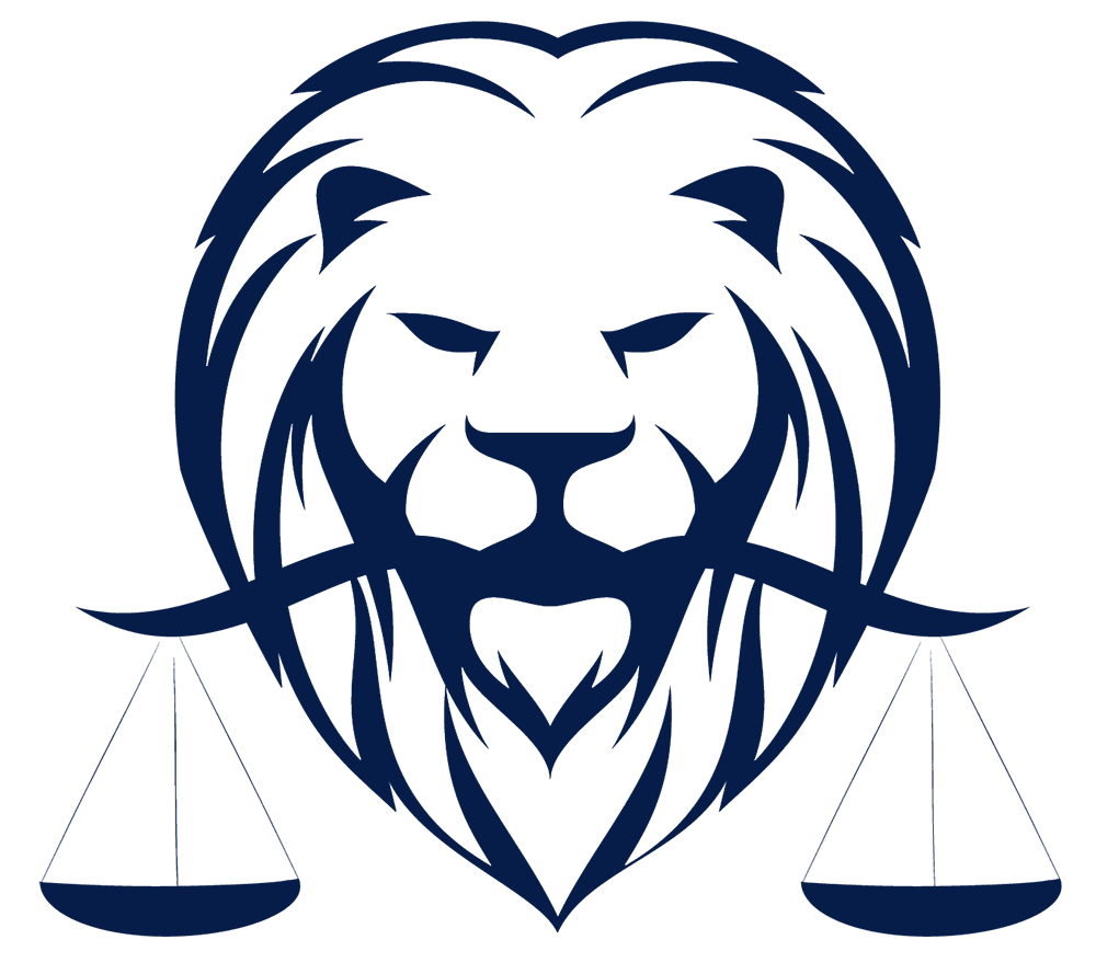 A lion holding the scales of justice in his mouth