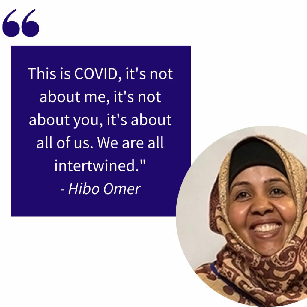 Hibo Omer smiles in a circle crop juxtaposed to a quote