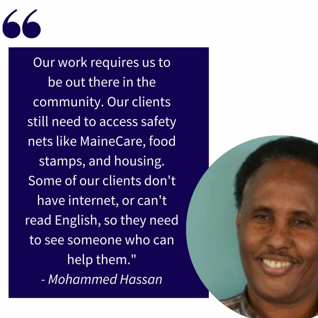 Mohammed Hassan smiles in a circle crop juxtaposed to a quote