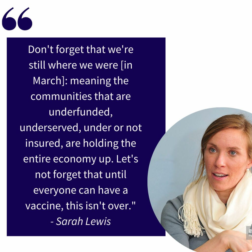 Sarah Lewis smiles in a circle crop juxtaposed to a quote
